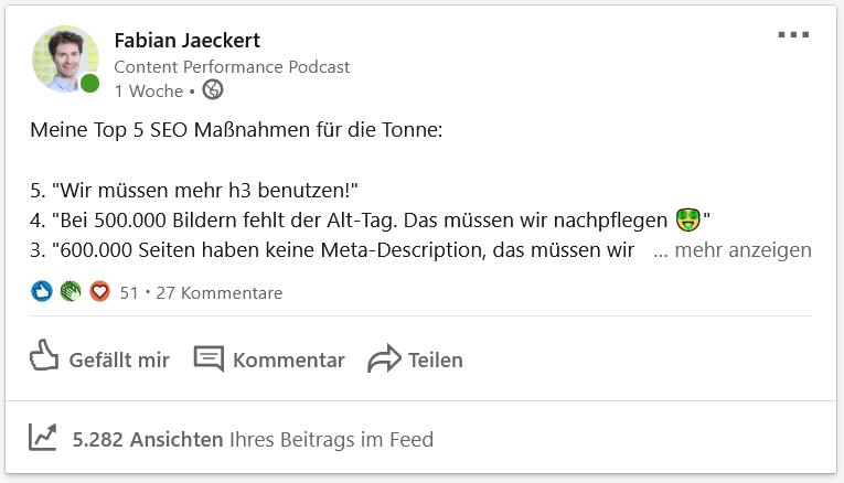 LinkedIn Content Beispiel