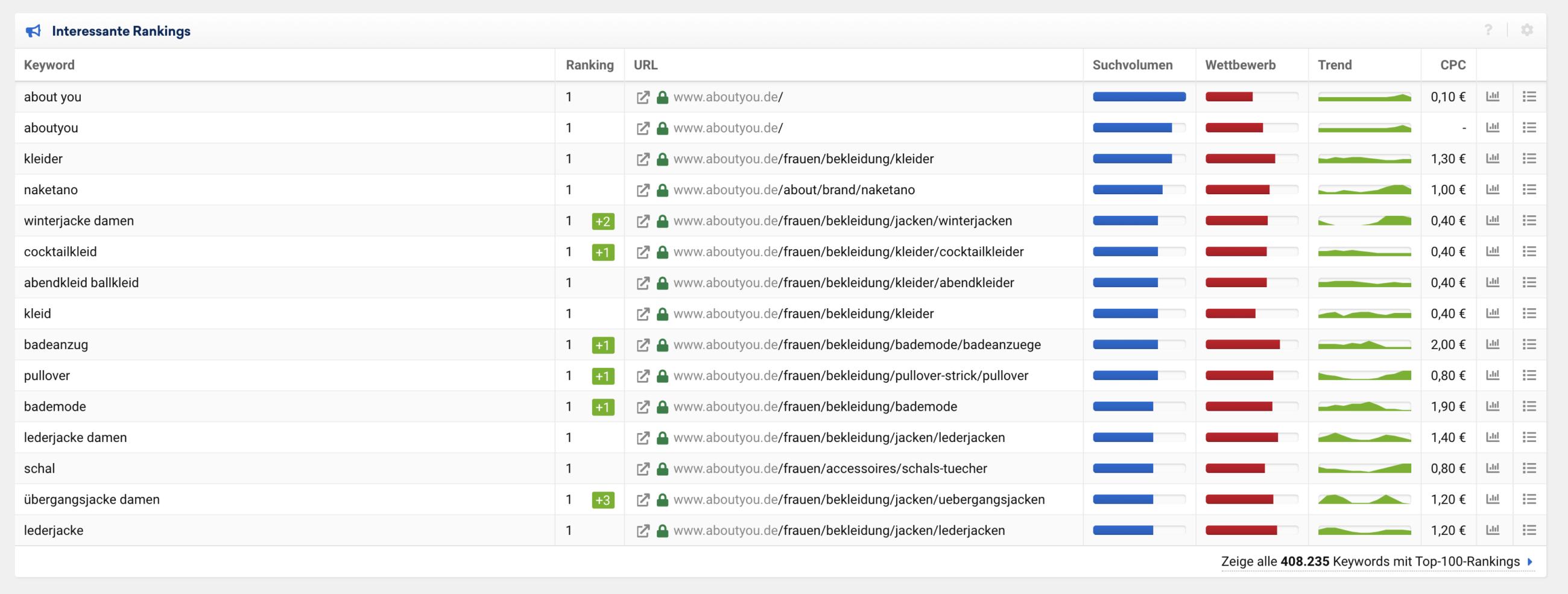 Google Ranking eines großen Online-Shops. Tool Sistrix.