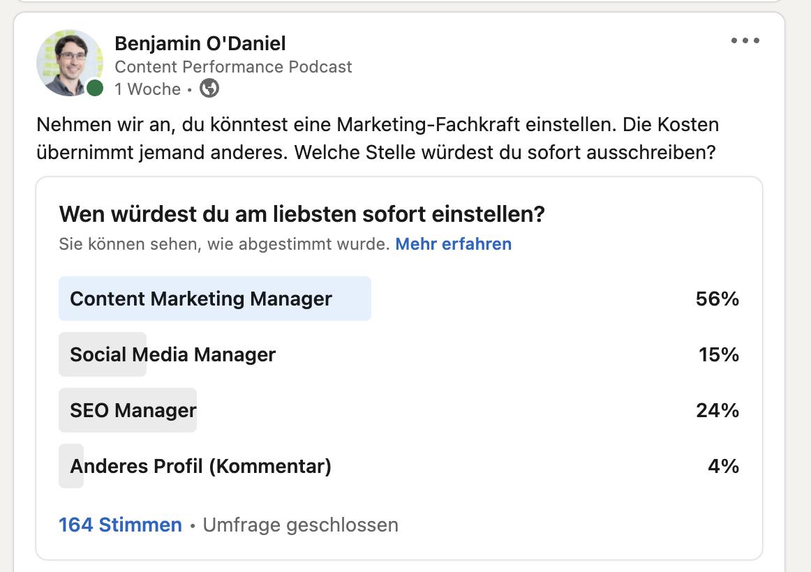 Content Marketing Manager Umfrage