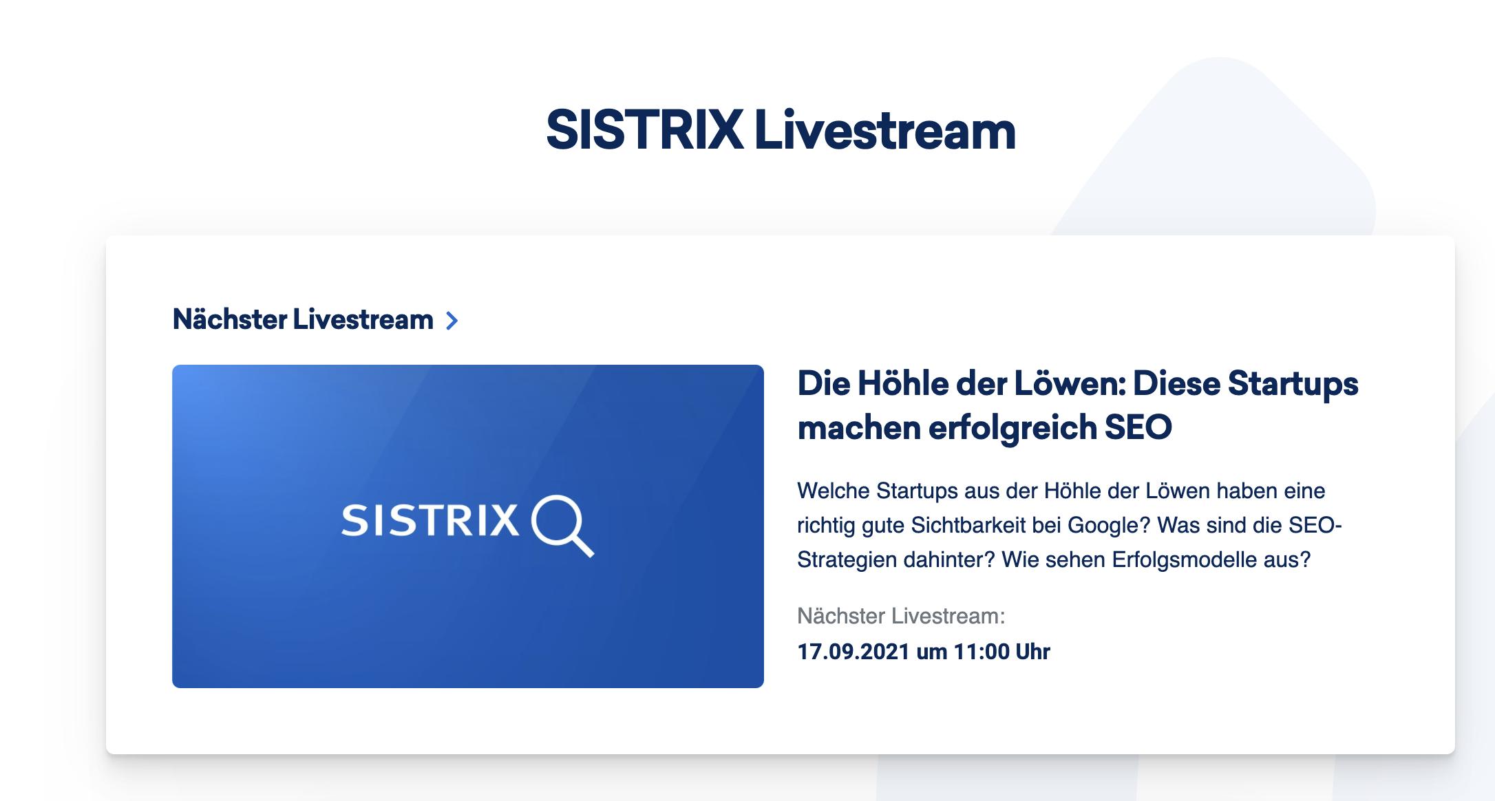 Sistrix Livestream